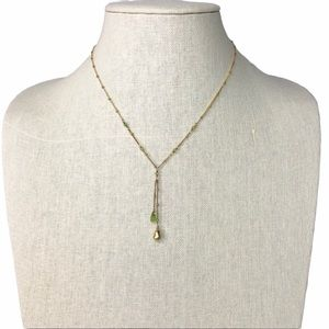 Dainty Double Drop Y-Necklace Green Gold